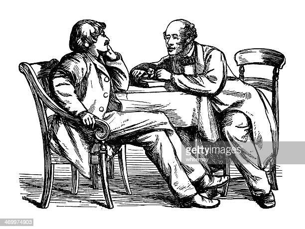 Two Victorian men chatting at a table