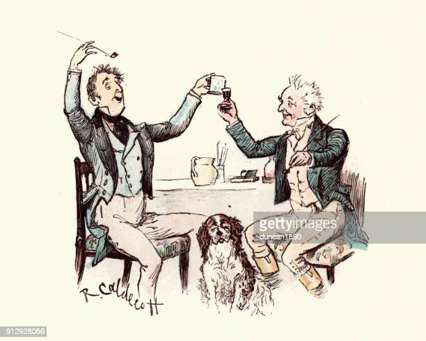 two victorian men drinking and having fun - archival stock illustrations, clip art, cartoons, & icons