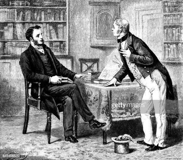 Two Victorian men having a slight disagreement