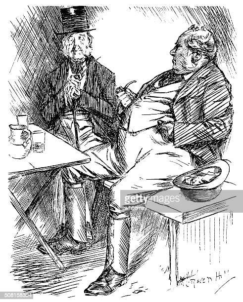 two victorian men in a public house - only men stock illustrations, clip art, cartoons, & icons