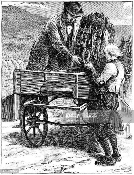 Two Victorian men loading a horse-drawn cart