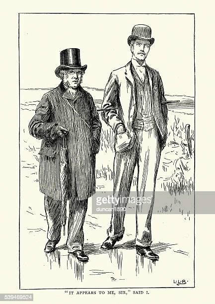 Two victorian men out walking