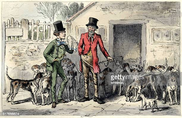 Two Victorian men with a pack of foxhounds