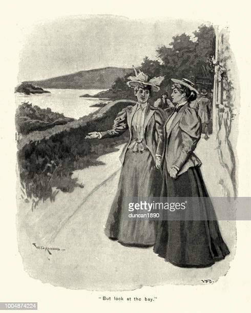 Two victorian woman admiring the view