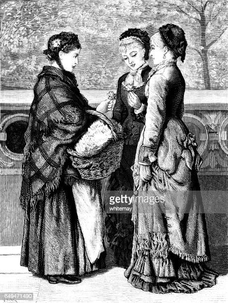 Two Victorian women buying flowers from a flower seller