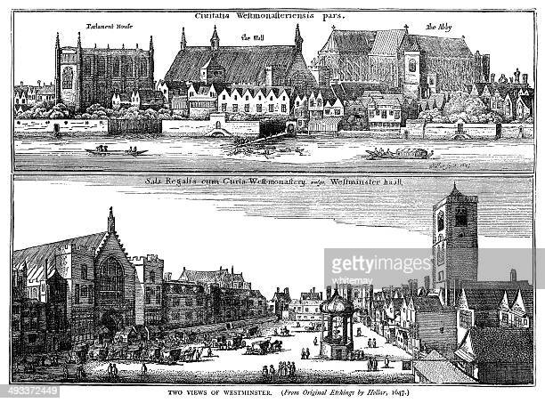 two views of westminster by hollar, 1647 - whitehall london stock illustrations