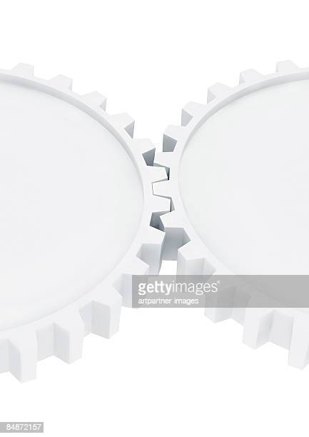 two white gear wheels working together - two objects stock illustrations