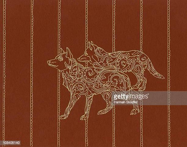 two wolves - alertness stock illustrations