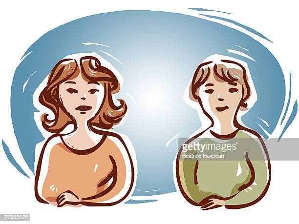 two woman sitting side by side - menopause stock illustrations, clip art, cartoons, & icons