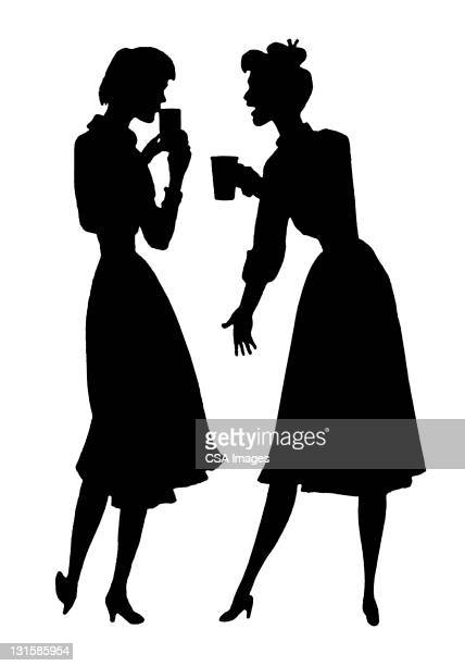 two woman talking - two people stock illustrations