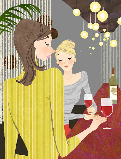 Two Woman With Wine At Bar Counter Wall Art
