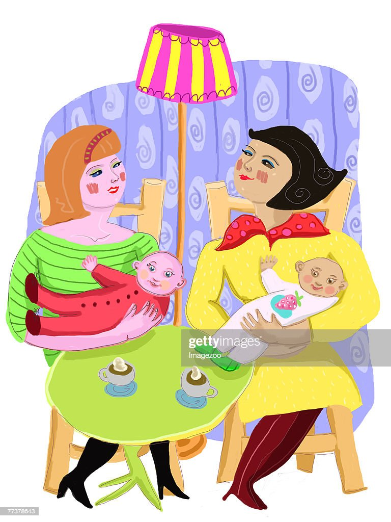 two women and their babies : Illustration