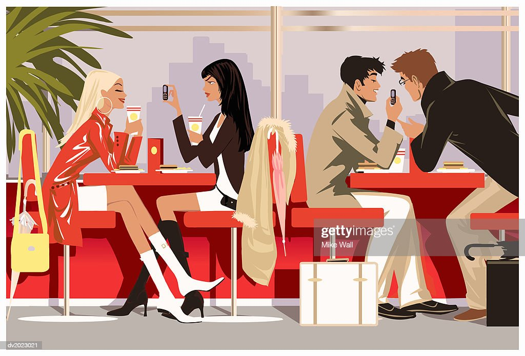 Two women and two men in caf?, holding mobile phones : Stock Illustration