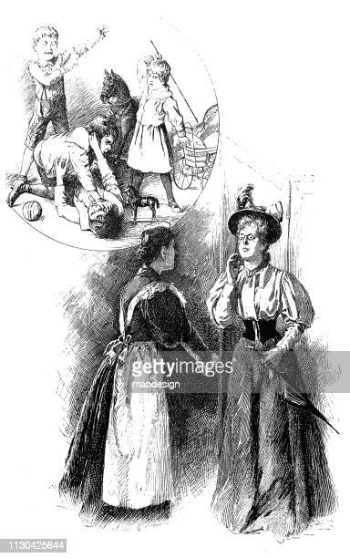 two women are discussing about rude children - 1896 - family fighting cartoon stock illustrations