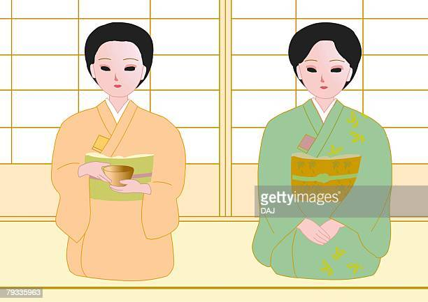 two women attending japanese tea ceremony, sitting and smiling, front view, japan - only japanese stock illustrations, clip art, cartoons, & icons