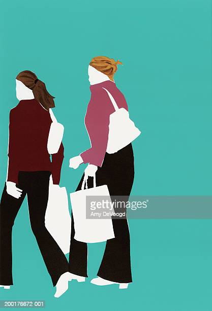 two women carrying shopping bags, rear view - hair bun stock illustrations, clip art, cartoons, & icons