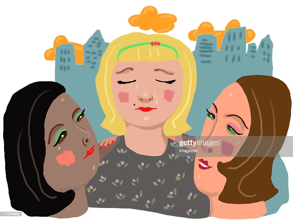 two women consoling their friend : Illustrationer