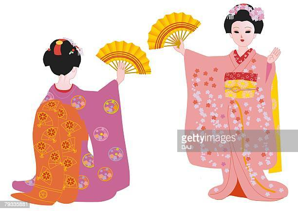 two women dancing with folding fan in japanese style clothing, japan - only japanese stock illustrations, clip art, cartoons, & icons
