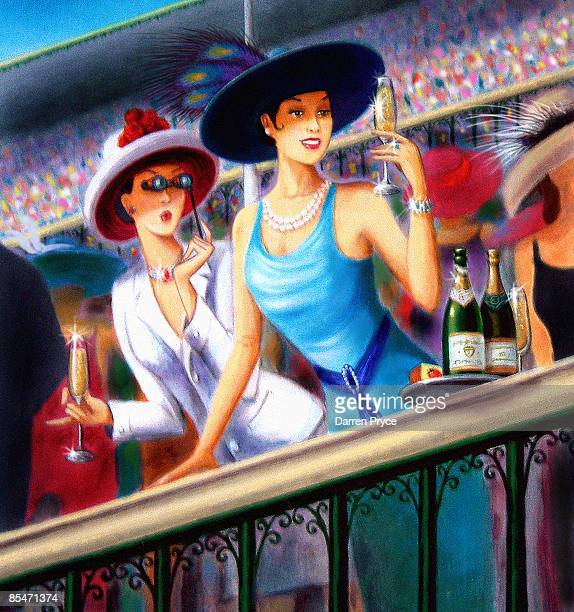Two women drinking champagne at a horse race