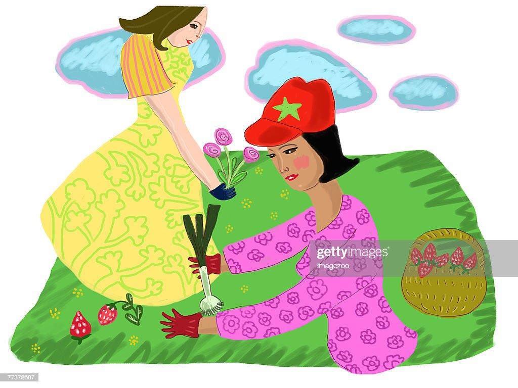 two women gardening : Illustration