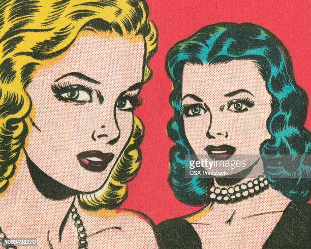 two women - pretty brunette woman cartoon stock illustrations