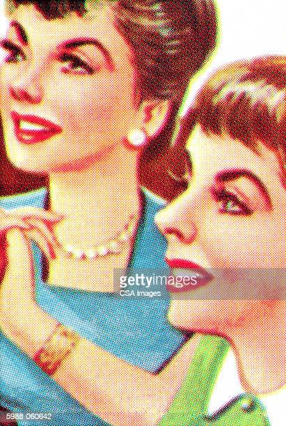 two women - friendship stock illustrations