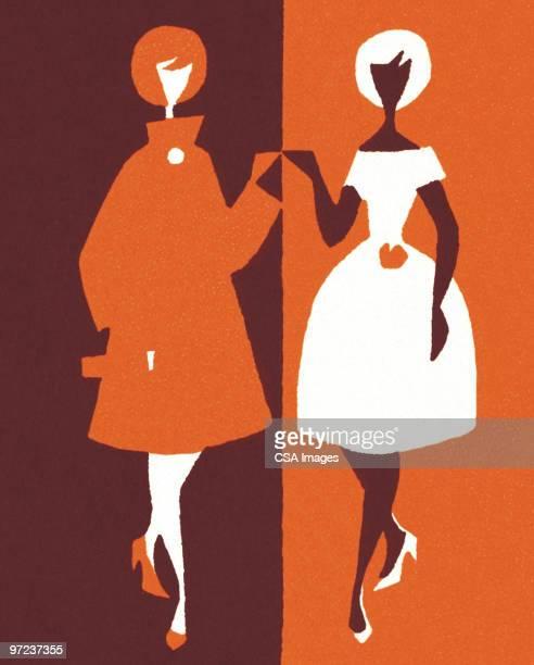 stockillustraties, clipart, cartoons en iconen met two women - twee personen