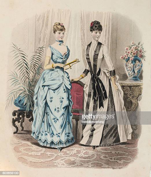 two women in evening gown with queue de paris - en búsqueda stock illustrations