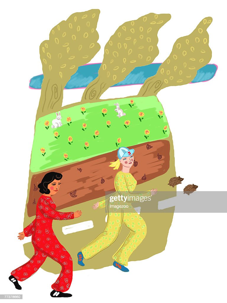 two women jogging in the park : Illustration