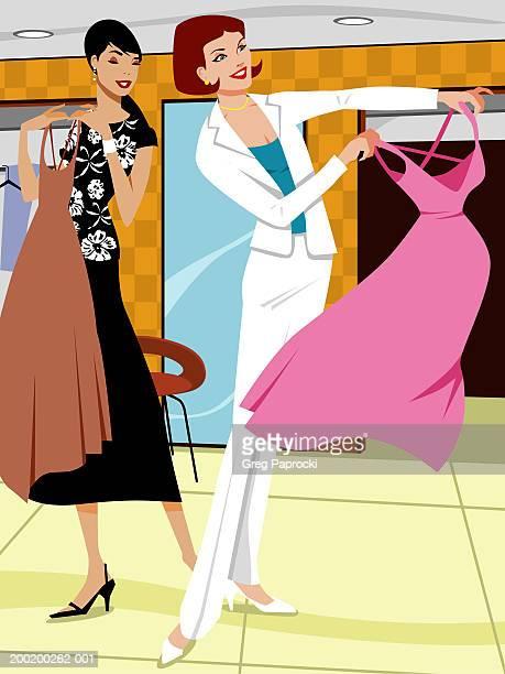 ilustraciones, imágenes clip art, dibujos animados e iconos de stock de two women looking at dresses in retail store, smiling - mujeres de mediana edad