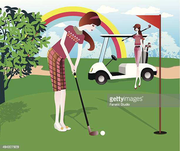 two women playing golf - sand trap stock illustrations, clip art, cartoons, & icons