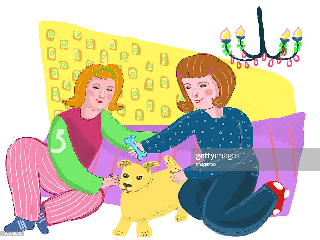 two women playing with a puppy : Illustration