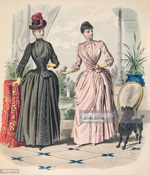 two women showing layered  dresses with queue and train - en búsqueda stock illustrations