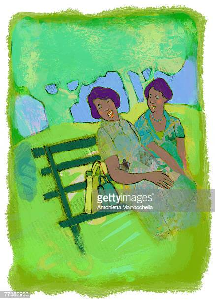 two women sitting and chatting on a park bench - três pessoas stock illustrations