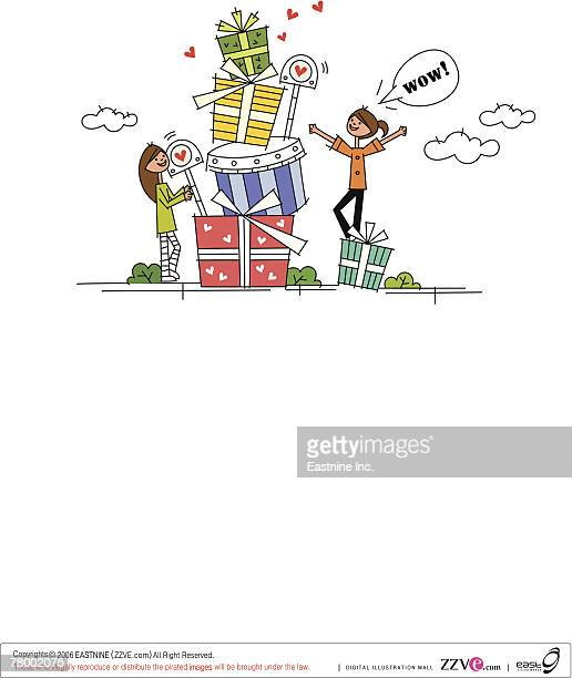 two women standing with a stack of gifts - rainy season stock illustrations, clip art, cartoons, & icons