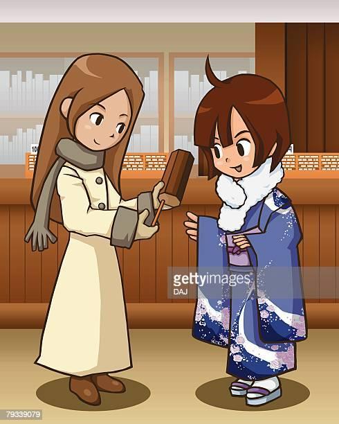 ilustraciones, imágenes clip art, dibujos animados e iconos de stock de two women taking an oracle stick, one in kimono, side view - mujeres de mediana edad