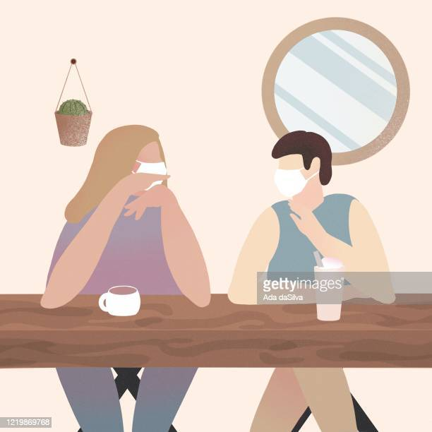 two women talking at home wearing medical face mask. - woman wearing protective face mask stock illustrations