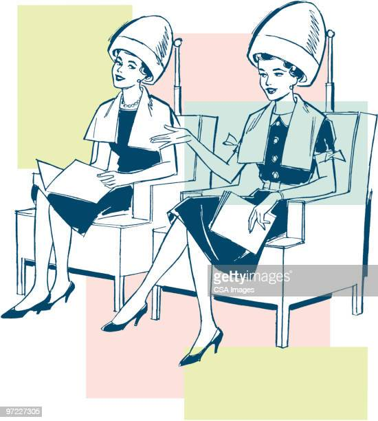 two women under hairdryers at a salon - friendship stock illustrations