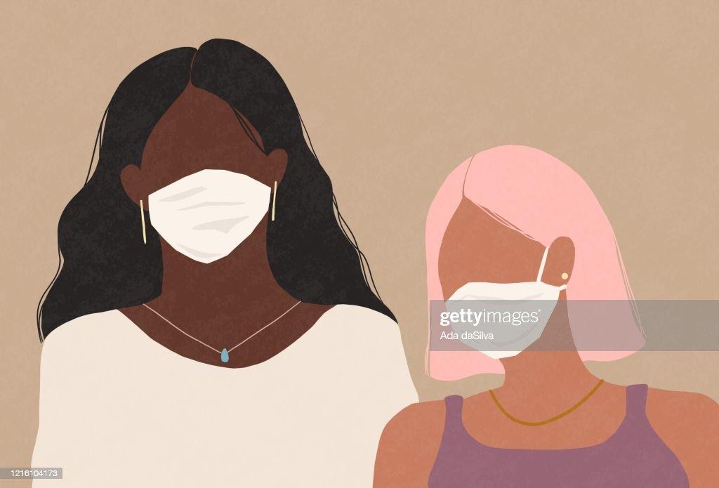 Twee vrouwen die een medische gezichtsmaskers dragen : Stockillustraties