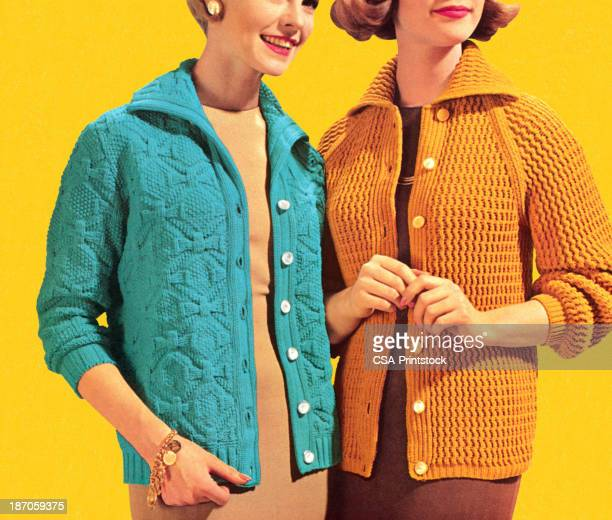 two women wearing cardigans - sweater stock illustrations, clip art, cartoons, & icons
