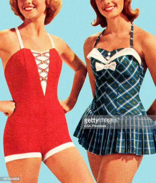 two women wearing swimsuits - swimwear stock illustrations, clip art, cartoons, & icons