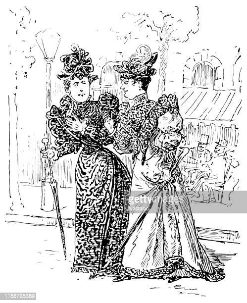 two women with hat, paris fashion - scottish tweed stock illustrations, clip art, cartoons, & icons