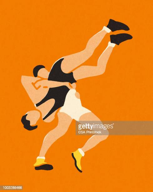 two wrestlers - professional wrestling stock illustrations