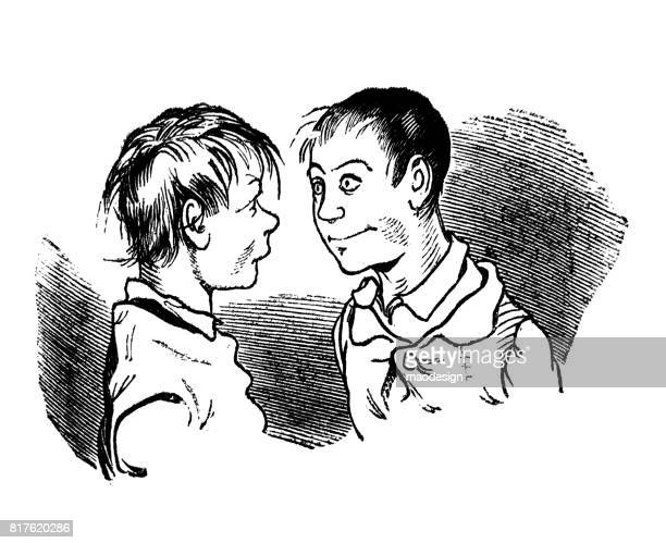 two young boys are looking into each other's eyes -1867 - other stock illustrations, clip art, cartoons, & icons