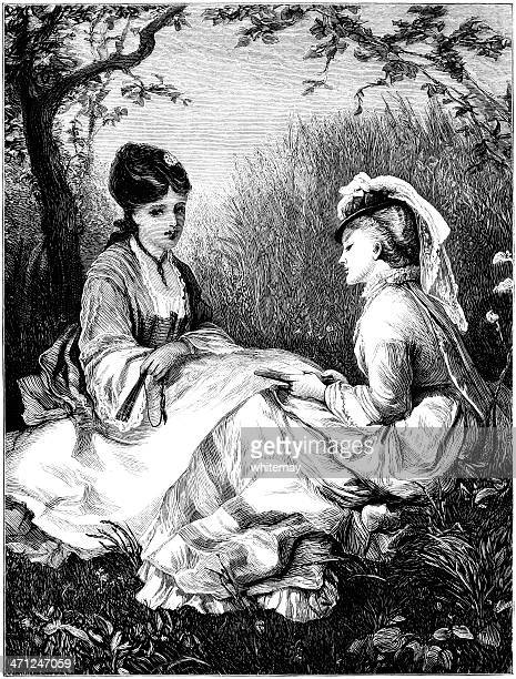 two young ladies sitting on the ground (victorian illustration) - sunday best stock illustrations, clip art, cartoons, & icons