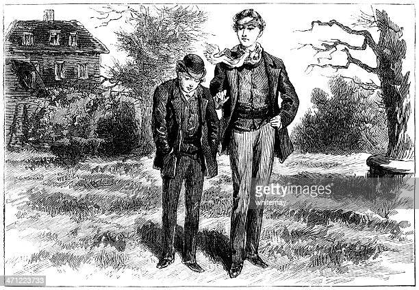 two young men chatting - victorian illustration - sunday best stock illustrations, clip art, cartoons, & icons