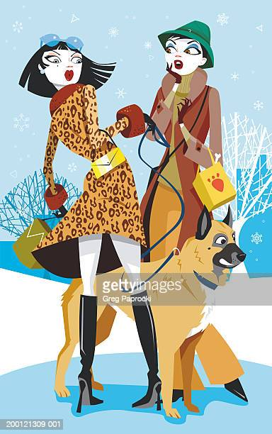 illustrations, cliparts, dessins animés et icônes de two young urban women standing with dog on leash while snow falls - chien humour