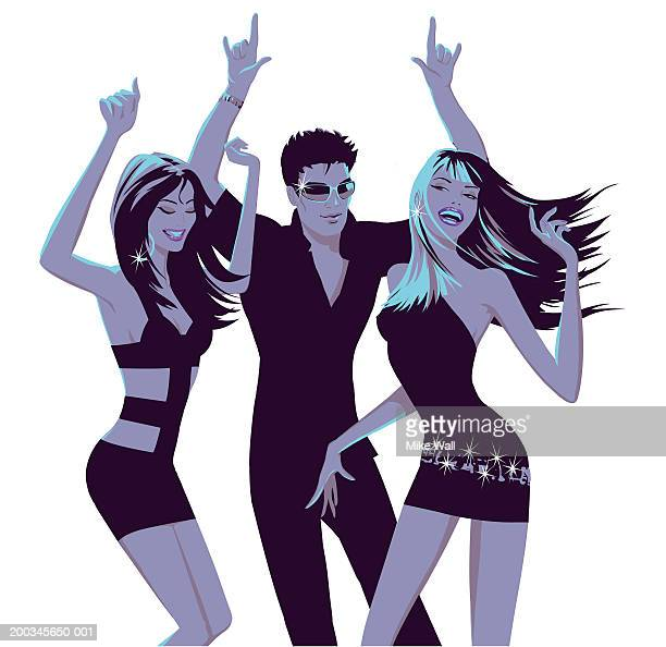 stockillustraties, clipart, cartoons en iconen met two young women and young man dancing - clubkleding