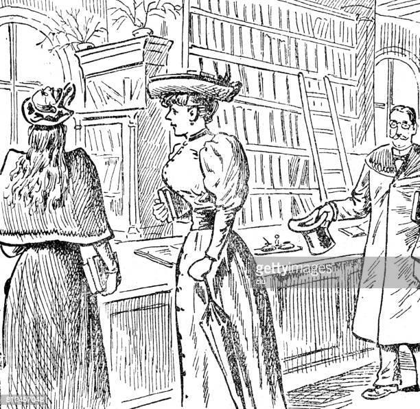 ilustrações, clipart, desenhos animados e ícones de duas mulheres jovens na recepção na loja de livro - livraria
