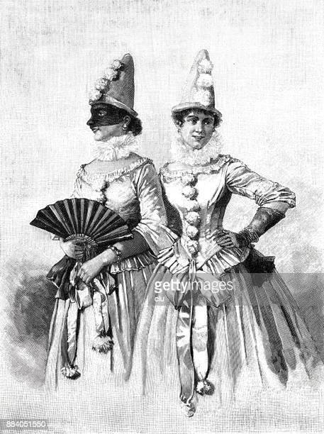 ilustrações de stock, clip art, desenhos animados e ícones de two young women in their costumes dressed for the carnival - carnaval